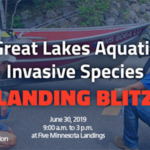 Partners at hundreds of water access sites throughout the region will be participating in an AIS Landing Blitz from June 28 to July 7 designed to inform boaters and others of the risks of introducing and spreading aquatic invasive species. (Courtesy of Minnesota Sea Grant)