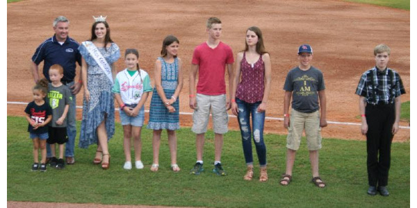 Agriculture Commissioner Ryan Quarles and Miss Kentucky Alex Francke (left in top photo) honored the Poster and Essay Contest winners on June 21 at Whitaker Bank Ballpark in Lexington. (Kentucky Department of Agriculture photo)