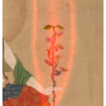 An image of the Chinese goddess of immortality, Xiwangmu, with auxin molecules tattooed on her arms, holds a root overlaid on a microscopic image of the GAUT10 mutant root. Art by Rose Garvin for MCP: Molecular and Cellular Proteomics. (Courtesy of ISU Extension and Outreach)