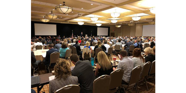 Gov. Ricketts gives opening remarks at this year's Governor's Economic Development Summit. (Courtesy of Office of Governor Pete Ricketts)