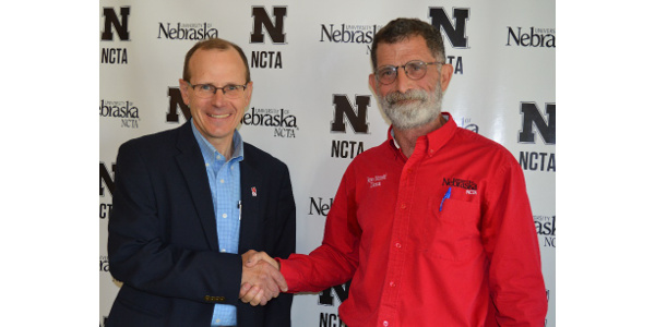 Kelly Bruns (left) of North Platte will receive the reins of NCTA administration from Dean Ron Rosati in August. (Crawford/NCTA News)