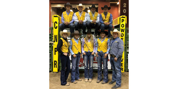 SDSU Rodeo Team CNFR qualifiers from left to right: (back) Paden Sexton, Scott Halverson, Reed Arneson, Nolan Richie (front) Tori Jacobs, Hannah Sauve, Allison Pauley, Madison Rau, and Coach Ron Skovly. (Courtesy of SDSU)