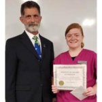 NCTA Dean Ron Rosati with vet tech student Jenna Garver of Hastings. (Courtesy of NCTA)