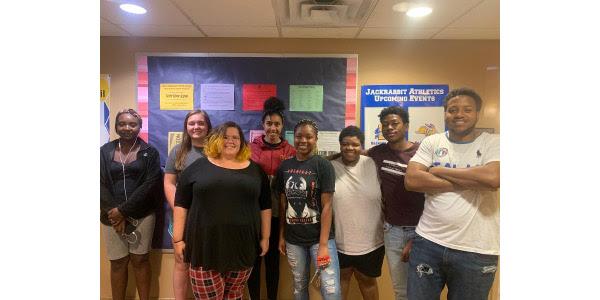 From left to right: Beyonce Griffin, Jenna Haack, Danielle Rinehart, Kierney Burks, Kyla Morris, Jazmyne Holley, Parrish Priester, Julian Boyd. (Courtesy of SDSU)