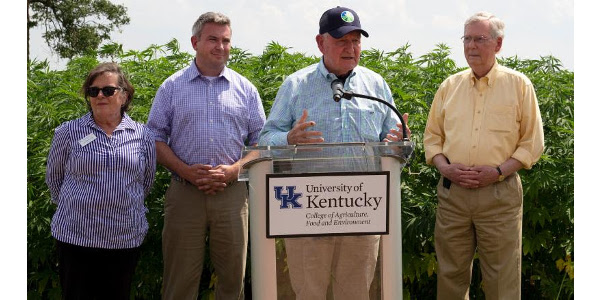 U.S. Agriculture Secretary Sonny Perdue talks about Kentucky's leadership in the burgeoning American hemp industry in a news conference Tuesday at the University of Kentucky research farm north of Lexington. With Secretary Perdue are, from left: Nancy Cox, dean of the UK College of Agriculture, Food and Environment; Kentucky Agriculture Commissioner Ryan Quarles; and Senate Majority Leader Mitch McConnell. (Kentucky Department of Agriculture photo)