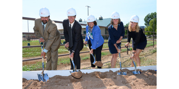 Dr. Tony Frank, Dr. Chris Kawcak, CSU president Joyce Mcconnell, Lynn Campion and Berit Campion of the Johnson Family Foundation perform the ceremonial groundbreaking for the Johnson Family Equine Hospital on Aug. 6, 2019. (John Eisele/CSU photo)