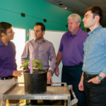 A team of K-State researchers is building a tool to measure sap flow -- or the movement of water -- in plant stems. Pictured, left to right, are Krishna Jagadish, Behzad Ghanbarian, Gerard Kluitenberg and Mohammad Shadmand. (Courtesy of K-State Research and Extension)