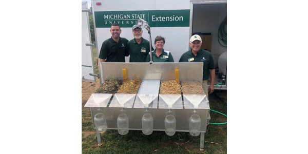 The rainfall simulator used for demonstrations about soil health during field days. (Photo by Elizabeth Schultheis)