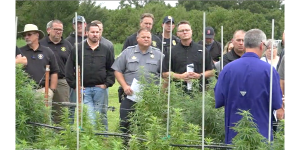 More than 60 law enforcement officials from across Kansas attended a seminar at the John C. Pair Horticulture Center in Haysville to learn more about rules and regulations related to growing hemp in the state. (Screenshot from video)