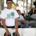 Blake Peck, member of the Lime Creek Livewires 4-H club, is all smiles as his rabbits are about to be judged during the Washington County Fair. (Courtesy of ISU Extension and Outreach)