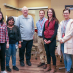 Faculty and graduate students from the Food Allergy Research and Resource Program include (from left) Melanie Downs, Shimin Chen, Bini Ramachandran, Steve Taylor, Joe Baumert, Abigail Burrows, Wanying Cao and Lee Palmer. (Alyssa Amen - NUtech Ventures)