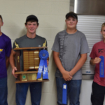 Placing first in the senior division of the state 4-H land judging contest was the team from Nelson County. Team members (from L to R) are: Jack Steffan, Roman Steffan, Torey Charles and Anthony Braun. (Courtesy of NDSU)
