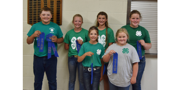 Placing first in the junior division of the state 4-H land judging contest was the team from Foster County. Team members (from L to R) are: Kyle Johnson, Brekka Kuss, Cyrena Kuss, London Davis, Cally Hansen and Molly Hansen. (Courtesy of NDSU)