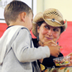 Salsa judge, Luan Thomas-Brunkhorst had a few words of advice from her son during the tasting.