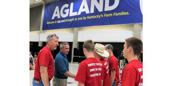 Agriculture Commissioner Ryan Quarles greets members of Madison Southern High School FFA outside the AgLand exhibit area on opening day of the 2018 Kentucky State Fair. (Kentucky Department of Agriculture photo)
