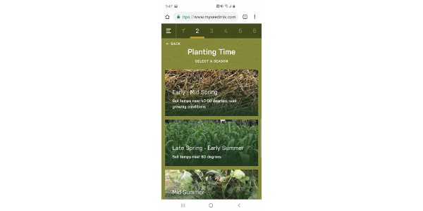 Producers now have an easy-to-use tool to help create custom cover crop mixes, thanks to the Millborn Seeds My SeedMix Web App. Screenshot of the user-friendly app, which provides customized seed mix options based on landowner's input. (Courtesy Millborn Seeds)