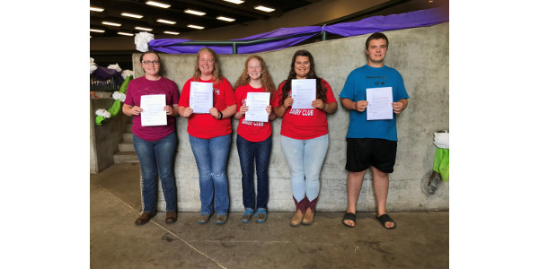 The top five interviewees were announced during the State 4-H Dairy Banquet on July 18. From left, Hope Shilling, Madison Halfman, Adalee Thelen, Kassidy Thelen and Joshua Tripp. (Courtesy of MMPA)