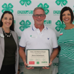 Steve Schwietert Inducted into Iowa 4-H Hall of Fame Caption: Emily Saveraid (left), Iowa 4-H Foundation Executive Director, and Tillie Good (right), Iowa 4-H Volunteer Development Specialist, present Steve Schwietert (center) a certificate for his 2019 4-H Hall of Fame induction. (Courtesy of ISU Extension and Outreach)