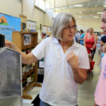 Each year, MU Extension safety and health specialist Karen Funkenbusch teaches young people about the dangers of farm grain bins and common household poisons. (Photo by Linda Geist)