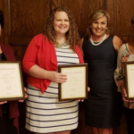 Kim Brantner, MacKenzie Johnson, Malisa Rader and Barbara Woods were award recipients from human sciences, extension and outreach. (Photo provided by Donna Donald, ISU Extension and Outreach)