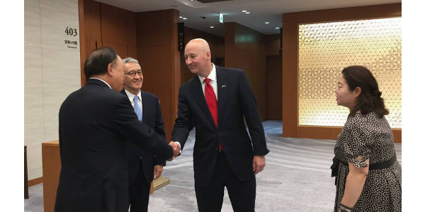 Gov. Ricketts meets Keidanren, a major Japanese business association. (Courtesy of Office of Governor Pete Ricketts)