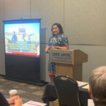 """Extension Dairy & Livestock Agent Tina Kohlman and Agriculture Agent Stephanie Plaster co-developed and -presented """"Mission Possible: Motivational Interviewing for Moving Farm Families Forward"""" at the 2019 National Association of County Agriculture Agents Annual Meeting & Professional Improvement Conference to over 30 individuals. (Courtesy of UW-Extension)"""