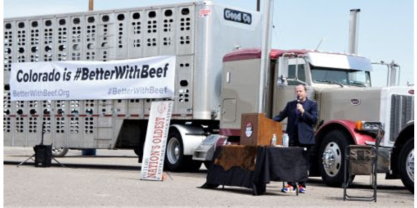 Governor Jared Polis speaks to the importance of Colorado's beef industry and its future. (Courtesy of Colorado Cattlemen's Association)