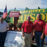 The Missouri Corn Growers Association joined fellow agriculture groups in Fulton, Mo., today to endorse Gov. Mike Parson for re-election. Pictured (l-r): Missouri Corn board member Jay Fischer, MCGA Vice President Greg Schneider, Gov. Mike Parson, MCGA President Mark Scott and MCGA CEO Gary Marshall. (Courtesy of Missouri Corn Growers Association)