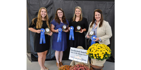 Michigan State University won high team overall. Members include, left to right, Madeline Meyer, Ionia, Mich.; Allison Schafer, Westphalia, Mich.; Cameron Cook, Pewamo, Mich.; and coach, Sarah Black. (Courtesy of CentralStar Cooperative)
