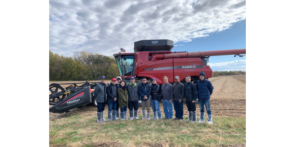 While in Nebraska, the trade team visited Nerud Farms to experience corn and soybean harvests and learn about crop progress and conditions. (Courtesy of Nebraska Corn Board)