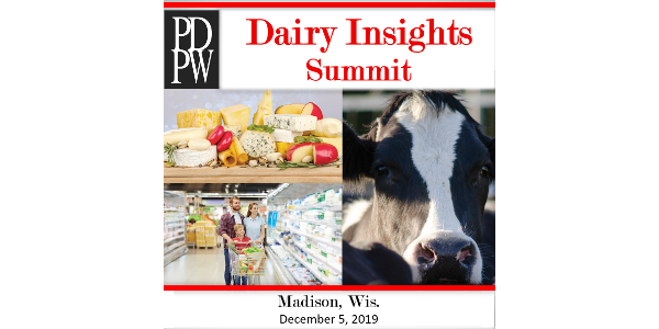 The PDPW Dairy Insights Summit, presented by The Professional Dairy Producers® (PDPW), will be held Thu., December 5, 2019, at the Sheraton Hotel in Madison, Wis.