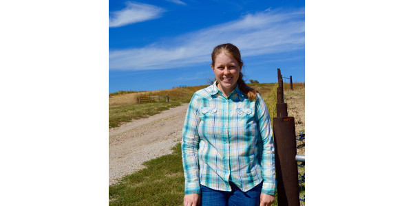 Research technologist for range management, Jessica Milby, enjoys working outdoors as near the trail headed to a cattle pasture in Frontier County, but also teaching students about range management at the Nebraska College of Technical Agriculture. (Sophie Nutter/NCTA News photo)