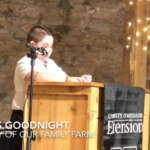 "Charles Goodnight, a fourth grader at Sweeny Elementary in Republic, titled his speech, ""The Story of Our Family Farm."" (Screenshot from video)"