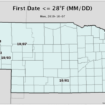 Figure 1. Dates and locations where first hard freezes (temperatures less than or equal to 28F) have occurred this fall. (Courtesy of UNL)