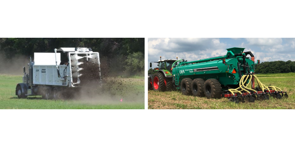 Figure 1: Precision manure application is an important trend in managing animal manures. (Left photo is courtesy of Leslie Johnson, University of Nebraska-Lincoln. Right photo by Rick Koelsch)