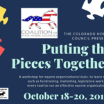 The Colorado Horse Council presents Putting the Pieces Today October 18-20, 2019, a workshop for equine organizations and clubs to learn skills necessary for running an effective equine organization, such as fundraising, marketing, and legislative work.