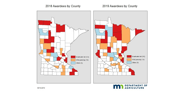 The two maps show 2018 and 2019 grant recipients by county. (Courtesy of Minnesota Department of Agriculture)