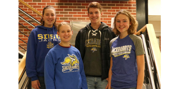 From left: Ashley Maus, Margaret Socha, Theodore Jacoby and Sanne de Bruijn are recipients of scholarships from the National Dairy Promotion and Research Board. (Courtesy of SDSU)