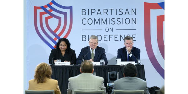 The Bipartisan Commission on Biodefense, which includes former Senate Majority Leader Tom Daschle (center), spotlighted the threats to the nation's agricultural systems during its Nov. 5 meeting at CSU. (Courtesy of CSU)