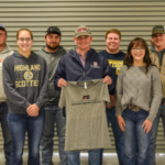The inaugural group of members gathered after the first meeting of the Collegiate Farm Bureau. Back L to R- Devin Taylor, Caleb Pilcher, Justin Wenger, Shawn Boos. Front L to R- Belinda Ames, Ty Ellerman, Savannah Phillips. (Courtesy of Highland Community College)