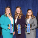 First-place collegiate team from the University of Minnesota in the dairy cattle judging contest at NAILE, Louisville, KY (l. to r.): Kaleb Kruse, Dyersville, IA; Sierra Swanson, Hutchinson, MN; Emily Annexstad, St. Peter, MN; Eva Doornink, Baldwin, WI; and Dr. Les Hansen, coach. (Courtesy of University of Minnesota)