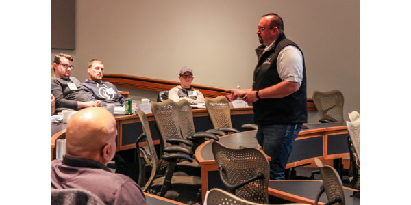 Matt Frederking, vice president of regulatory affairs and quality at Mid America Pet Food, engages the participants of the NGFA–KSU Food Safety Modernization Act course during a lecture on current good manufacturing practices.