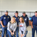 Students enrolled in the agriculture program gather during the tour and demonstrations that day. (Courtesy of Highland Community College)