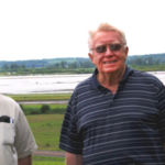 University of Missouri Extension agronomist Wayne Flanary, left, and longtime area farmer Morris Heitman stand in front of flooded land that could not be planted this year. Overall, Missouri ranked fourth in the nation in prevented-planting acres in 2019. (Photo by Linda Geist)