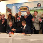 Preferred Popcorn signs a new trade agreement as Gov. Ricketts kicks off his trade mission in Germany. (Courtesy of Office of Governor Pete Ricketts)