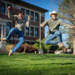 NCTA cowboys demonstrate a bit of athleticism on campus last spring. Fall Discovery Day is next Monday. (Cannon/NCTA Photo)
