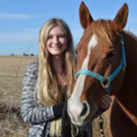 Emmaly Wright, a Lincoln native, brought her horse, Lucky, to college to be part of her academic studies in equine industry management at the Nebraska College of Technical Agriculture. (Photo by Annie Bassett, NCTA student)