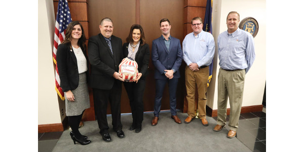 In advance of the Thanksgiving holiday, Michigan Allied Poultry Industries (MAPI) presented a turkey to Governor Whitmer Tuesday, in appreciation for her support of the state's poultry industry. (Courtesy of MAPI)